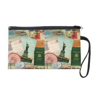 Vintage Travel stamps postcards wristlet