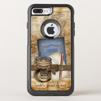 Vintage Travel Steampunk Style OtterBox Commuter iPhone 7 Plus Case