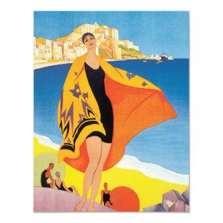 Vintage Travel, Summer Beach with Woman at Calvi Card
