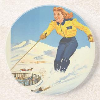 Vintage Travel Sun Valley Idaho Coaster