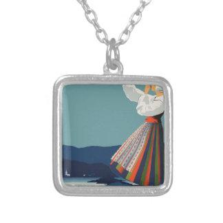 Vintage Travel Sweden Silver Plated Necklace