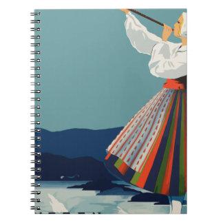 Vintage Travel Sweden Spiral Notebook