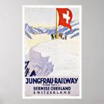 Vintage Travel Switzerland By Jungfrau Railway Poster