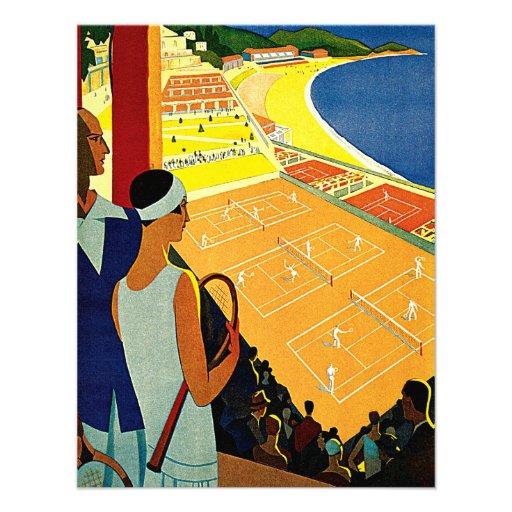 Vintage Travel, Tennis, Sports, Monte Carlo Monaco Personalized Announcements