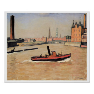 Vintage Travel The Port of Hamburg Germany Poster