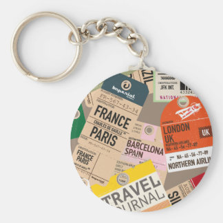 Vintage Travel Tickets Basic Round Button Key Ring