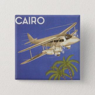 Vintage Travel to Cairo, Eygpt, Biplane Airplane 15 Cm Square Badge