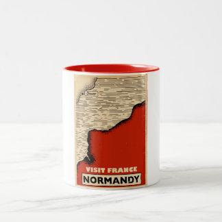 Vintage travel To Normandy, France Two-Tone Coffee Mug