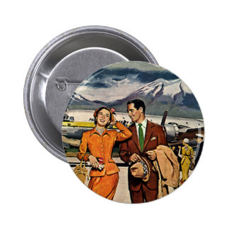Vintage Travel, Tourists on the Airport Tarmac 6 Cm Round Badge