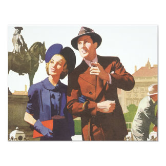 Vintage Travel, Tourists on Vacation Sightseeing 11 Cm X 14 Cm Invitation Card