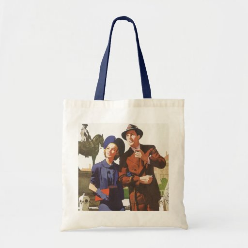 Vintage Travel, Tourists on Vacation Sightseeing Bags