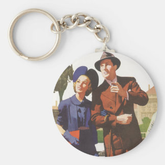Vintage Travel, Tourists on Vacation Sightseeing Basic Round Button Key Ring