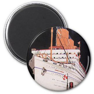 Vintage Travel Transportation Cruise Ship at Night 6 Cm Round Magnet