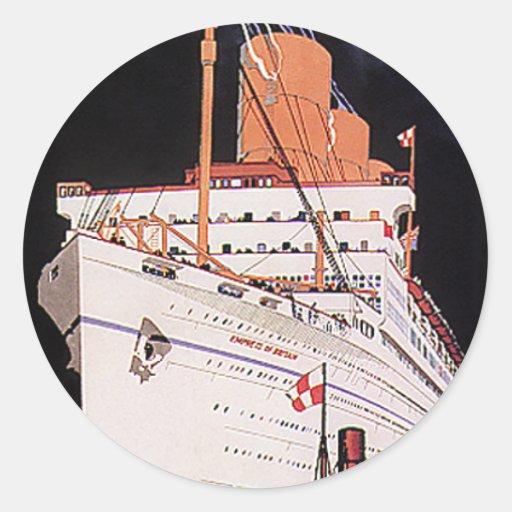 Vintage Travel Transportation Cruise Ship at Night Sticker