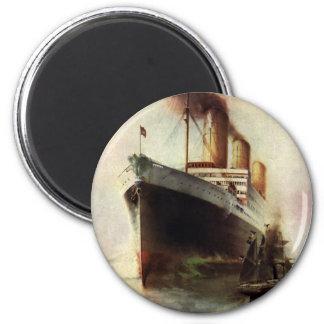 Vintage Travel Transportation Cruise Ship at Sea 6 Cm Round Magnet
