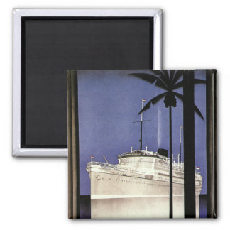 Vintage Travel Tropical Cruise Ship and Palm Trees Square Magnet