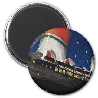 Vintage Travel, Vacation by a Fancy Cruise Ship 6 Cm Round Magnet