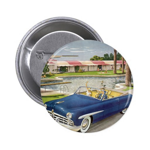 Vintage Travel Vacation, Convertible Car and Motel Button