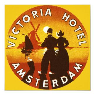 Vintage Travel, Victoria Hotel, Amsterdam, Holland 13 Cm X 13 Cm Square Invitation Card