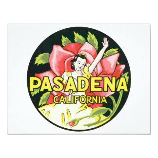 Vintage Travel, Woman Roses, Pasadena California 11 Cm X 14 Cm Invitation Card