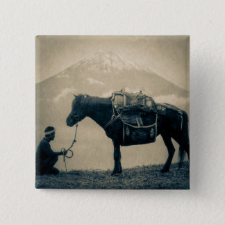 Vintage Traveler and His Horse  on way to Mt. Fuji 15 Cm Square Badge