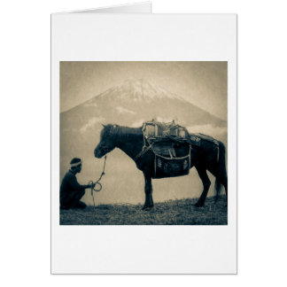 Vintage Traveler and His Horse  on way to Mt. Fuji Card