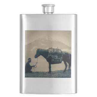 Vintage Traveler and His Horse  on way to Mt. Fuji Hip Flask