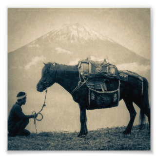 Vintage Traveler and His Horse  on way to Mt. Fuji Photo Print