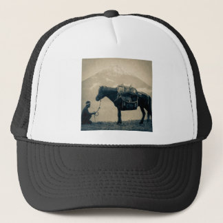 Vintage Traveler and His Horse  on way to Mt. Fuji Trucker Hat