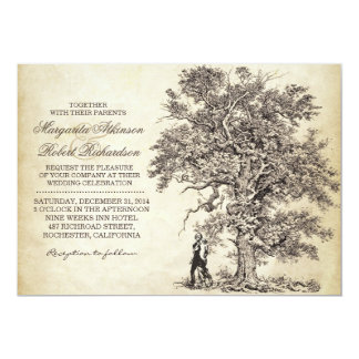 vintage tree and couple unique wedding invitations