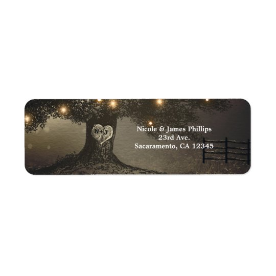 Vintage Tree & Night Lights Wedding Invitation Return Address Label