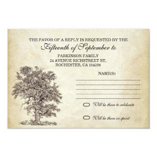 vintage tree old rsvp for wedding design 9 cm x 13 cm invitation card