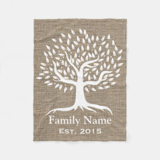 Vintage Tree Rustic Burlap Family Name Established Fleece Blanket