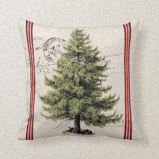 Vintage Tree Stripe Holiday Pillow