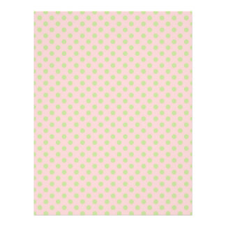Vintage Trendy Baby Pink Green Polka Dots Pattern 21.5 Cm X 28 Cm Flyer