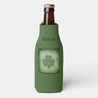 Vintage trendy grundge Irish shamrock Bottle Cooler
