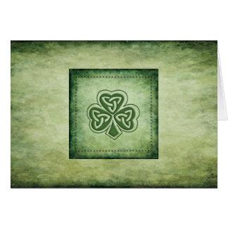 Vintage trendy grundge Irish shamrock Card