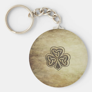 Vintage trendy grundge Irish shamrock Basic Round Button Keychain
