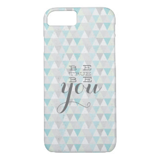 Vintage triangle pattern blue - 'be true, be you' iPhone 7 case