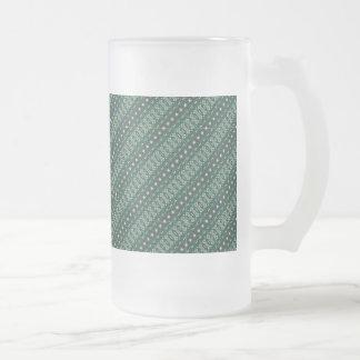 Vintage tribal aztec pattern frosted glass beer mug
