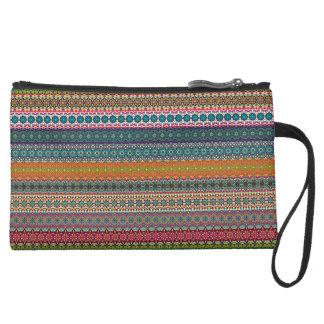 Vintage tribal aztec pattern suede wristlet