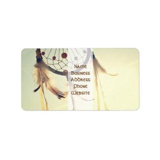 Vintage Tribal Hipster Dream Catcher Ornament Label
