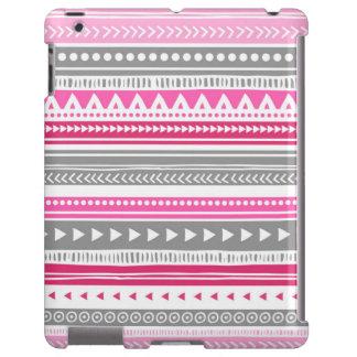 Vintage Tribal Stripes Pattern Grey Pink