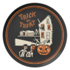 Vintage Trick Or Treat 1960s Halloween Plate