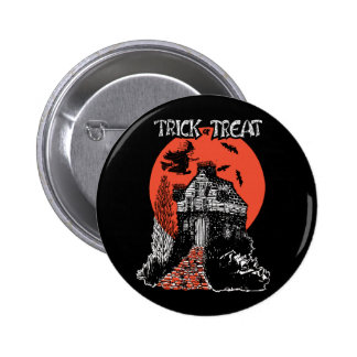 Vintage Trick or Treat Witch and Haunted House Pins