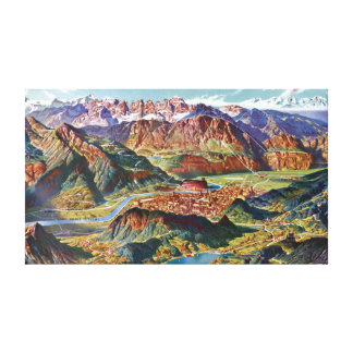 Vintage Trient and the Brenta Dolomites Italy Map Canvas Print