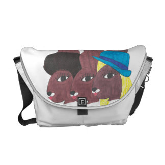 Vintage Trio Chocolate Bunnies Messenger Bag