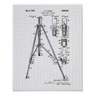 Vintage Tripod 1941 Patent Art - Lined Peper Poster