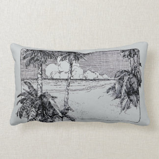 Vintage Tropical Beach Etching Pillow