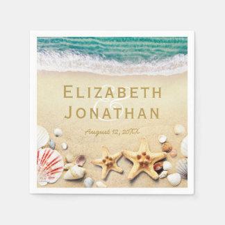 Vintage Tropical Beach Starfish Shells Wedding Disposable Serviettes